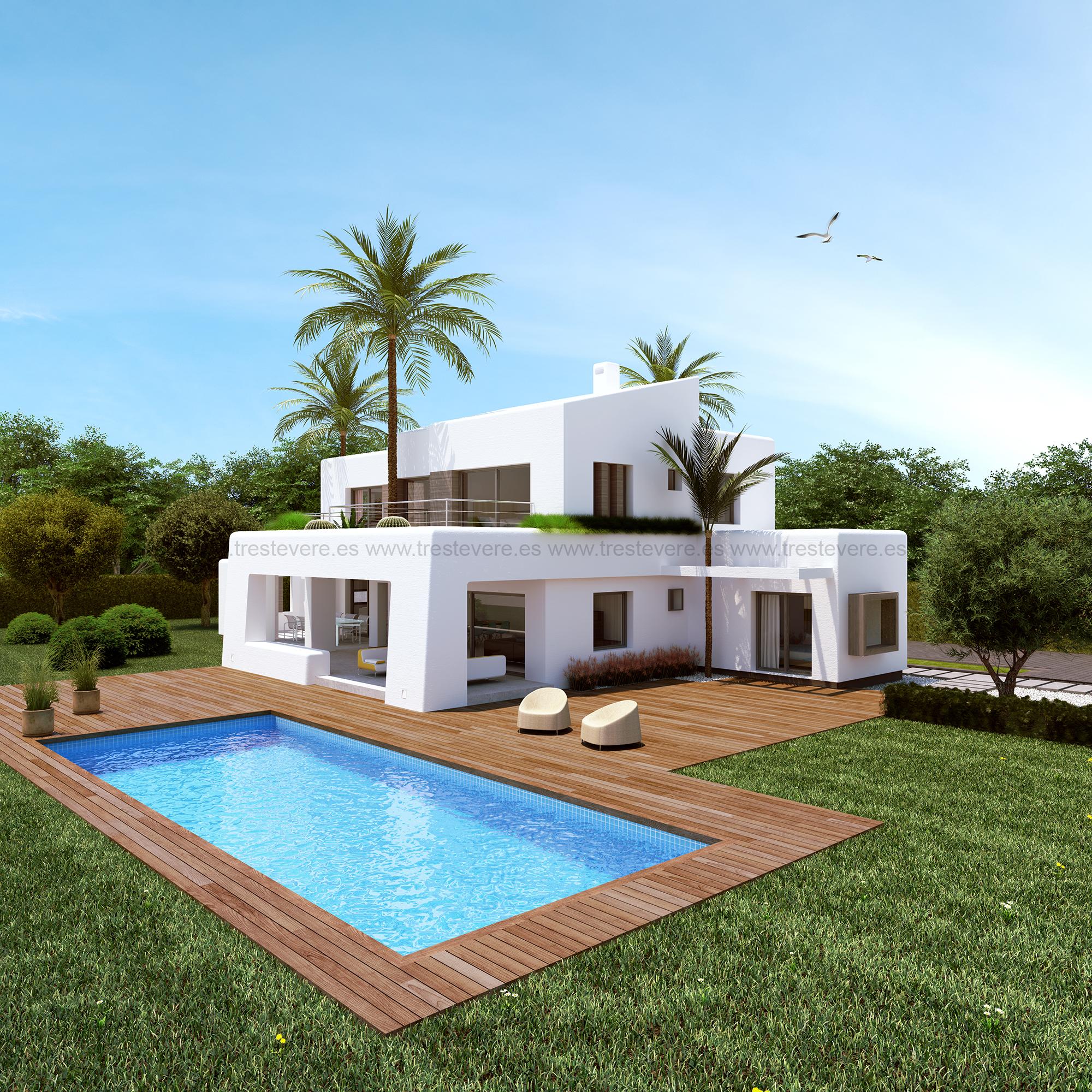 Vivienda ibicenca en x bia trest vere blog infografia 3d for Estilos de viviendas modernas