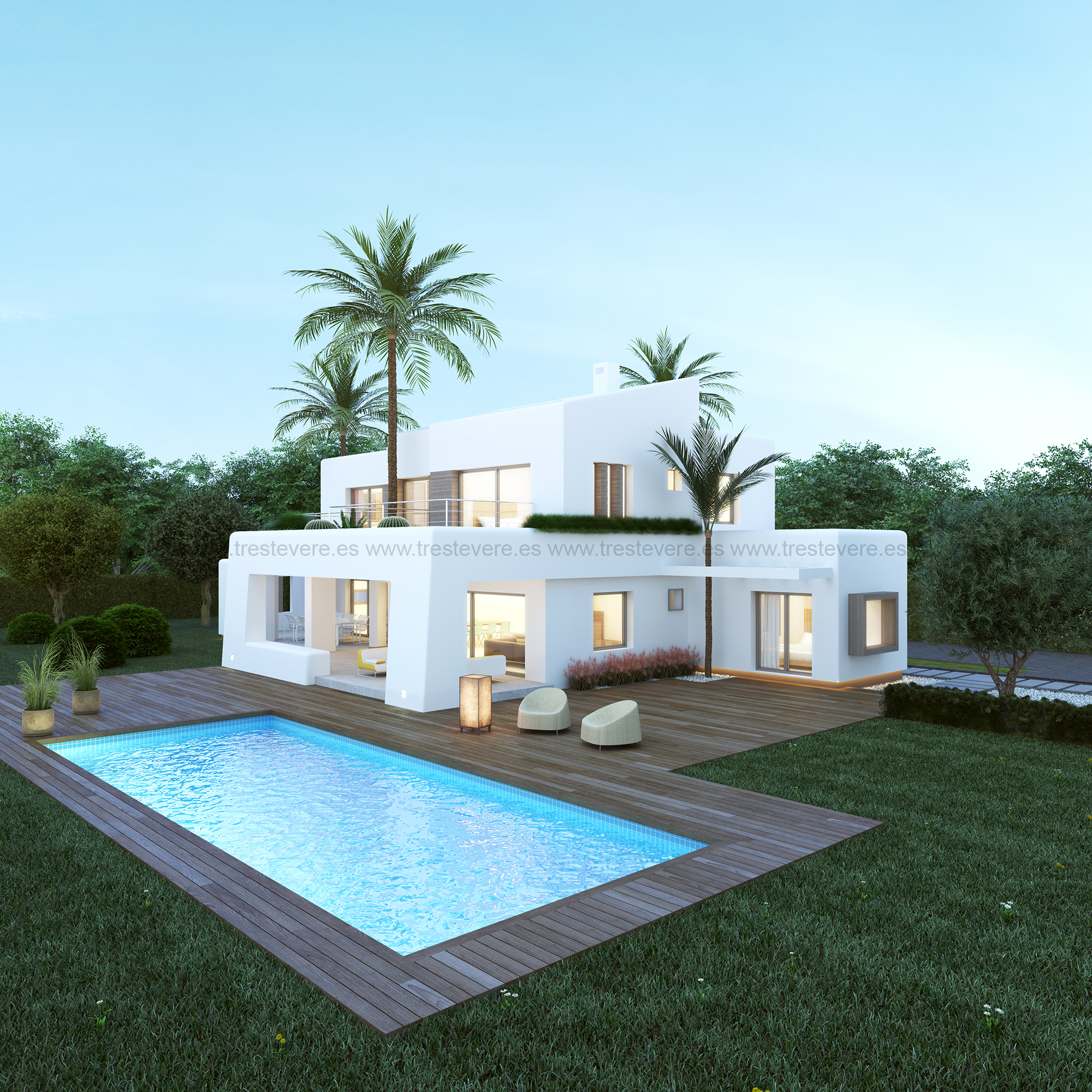Vivienda ibicenca en x bia trest vere blog infografia 3d for Construccion de piscinas con ladrillos