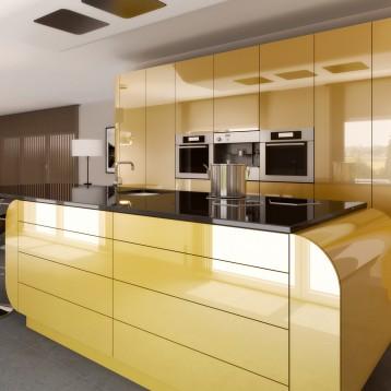 render cocina lacada oro
