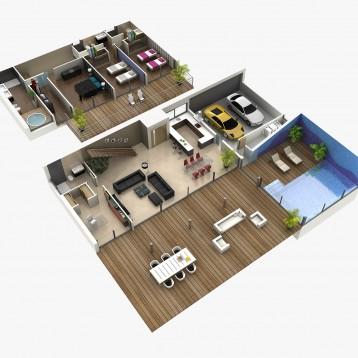 plano 3d arquitectura