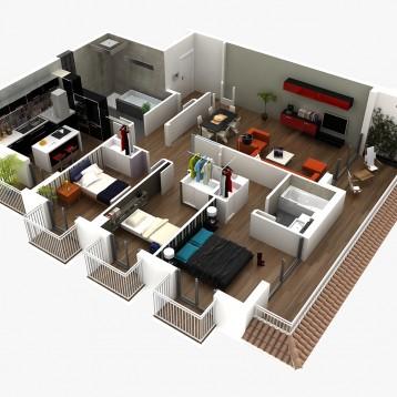 plano 3D inmobiliaria